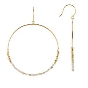 GORJANA // labradorite & gold bead hoop earrings